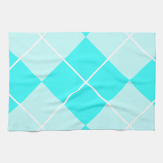 Turquoise Baby Blue Argyle Hand Towels