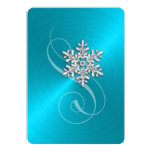 Turquoise Background Crystal Snowflake 5x7 Paper Invitation Card