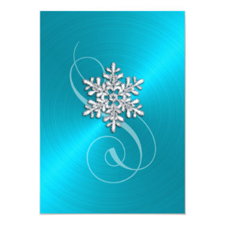 Turquoise Background Snowflake with Swash Card