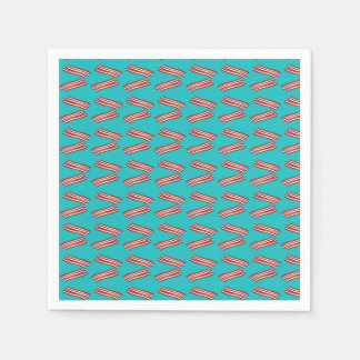 Turquoise bacon pattern disposable napkins