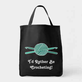 Turquoise Ball of Yarn & Crochet Hooks Tote Bags