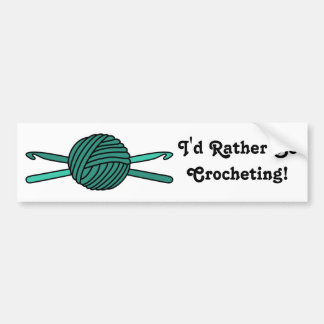 Turquoise Ball of Yarn & Crochet Hooks Bumper Sticker