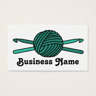 Turquoise Ball of Yarn & Crochet Hooks Business Card