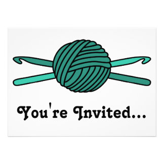 Turquoise Ball of Yarn & Crochet Hooks Announcements