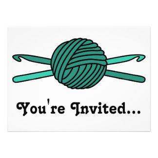 Turquoise Ball of Yarn & Crochet Hooks Announcements