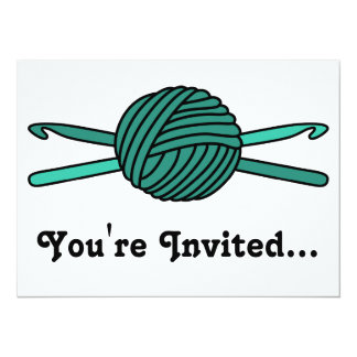 Turquoise Ball of Yarn & Crochet Hooks 5.5x7.5 Paper Invitation Card