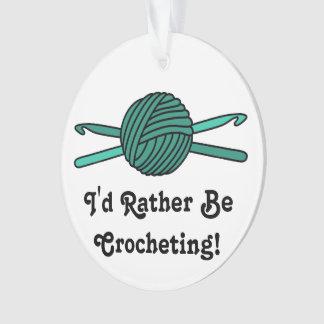 Turquoise Ball of Yarn & Crochet Hooks Ornament