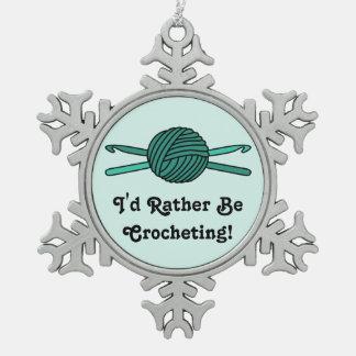 Turquoise Ball of Yarn & Crochet Hooks Snowflake Pewter Christmas Ornament