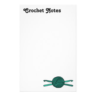 Turquoise Ball of Yarn & Crochet Hooks Stationery