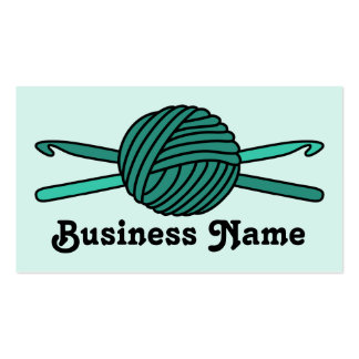 Turquoise Ball of Yarn & Crochet Hooks (Version 2) Business Card Template