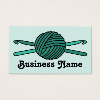 Turquoise Ball of Yarn & Crochet Hooks (Version 2) Business Card