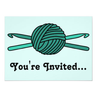 Turquoise Ball of Yarn & Crochet Hooks (Version 2) 5.5x7.5 Paper Invitation Card
