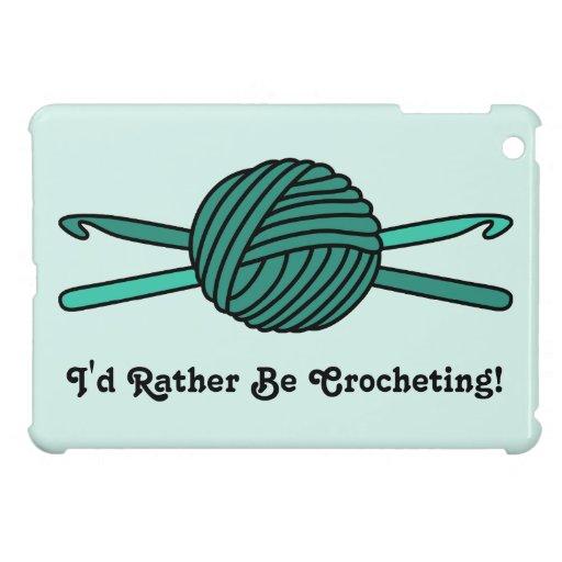 Turquoise Ball of Yarn & Crochet Hooks (Version 2) iPad Mini Cases