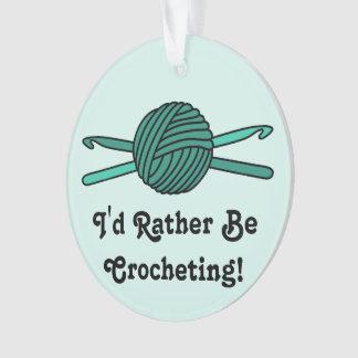Turquoise Ball of Yarn & Crochet Hooks (Version 2) Ornament