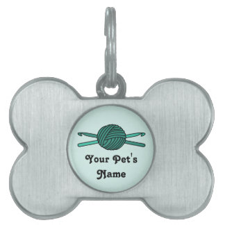 Turquoise Ball of Yarn & Crochet Hooks (Version 2) Pet Name Tag