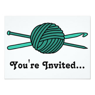 Turquoise Ball of Yarn (Knit & Crochet) Card