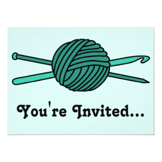 Turquoise Ball of Yarn (Knit & Crochet) 5.5x7.5 Paper Invitation Card