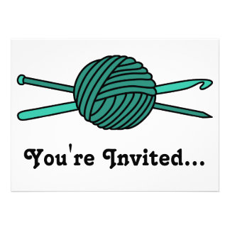 Turquoise Ball of Yarn (Knit & Crochet) Invitation
