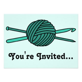 Turquoise Ball of Yarn (Knit & Crochet) Invites