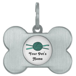 Turquoise Ball of Yarn (Knit & Crochet) Pet Tag