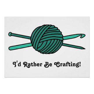 Turquoise Ball of Yarn (Knit & Crochet) Print