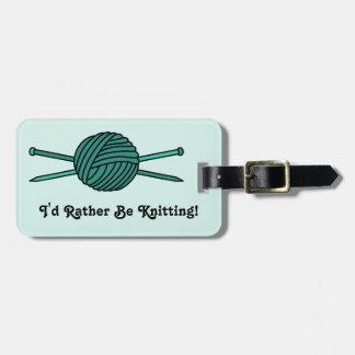 Turquoise Ball of Yarn & Knitting Needles Bag Tag