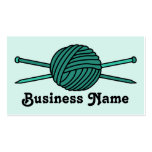 Turquoise Ball of Yarn & Knitting Needles Double-Sided Standard Business Cards (Pack Of 100)