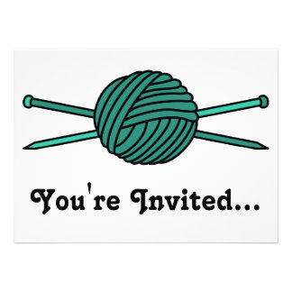 Turquoise Ball of Yarn & Knitting Needles Personalized Announcement