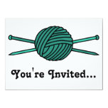 Turquoise Ball of Yarn & Knitting Needles 5.5x7.5 Paper Invitation Card
