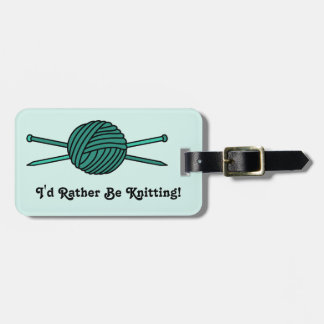 Turquoise Ball of Yarn & Knitting Needles Tag For Luggage