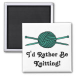 Turquoise Ball of Yarn & Knitting Needles Fridge Magnets