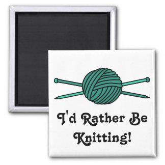 Turquoise Ball of Yarn & Knitting Needles Magnet