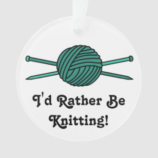 Turquoise Ball of Yarn & Knitting Needles Ornament