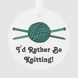 Turquoise Ball of Yarn & Knitting Needles Ornament