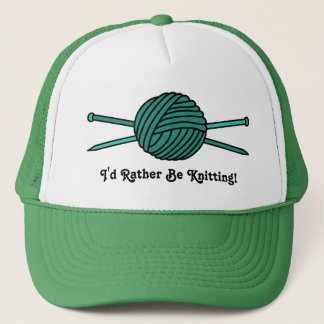 Turquoise Ball of Yarn & Knitting Needles Trucker Hat