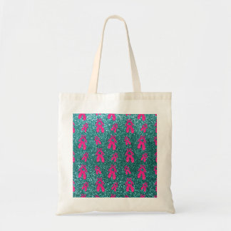Turquoise ballet slippers glitter pattern canvas bags
