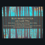 """Turquoise Bamboo Yoga  Nature Health Spa Wood Flyer<br><div class=""""desc"""">Artistic illustration of vivid turquoise blue and gold bamboo stalks on digital image of wood grain background. A great card for professionals specializing in holistic health and wellness. Also very appropriate for interior designers,  and jewelry designers.</div>"""