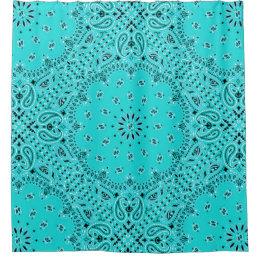 Turquoise Bandana Paisley Boho Hippie Glam Country Shower Curtain