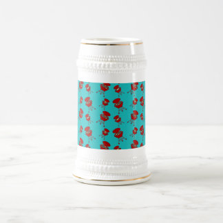 turquoise barbeque pattern 18 oz beer stein