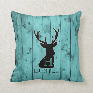 Turquoise Barn Wood Teal | Rustic Monogram Deer Throw Pillow