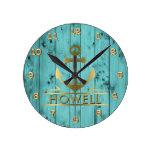 Turquoise Barn Wood Teal Woodgrain Nautical Anchor Round Clock