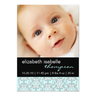 Turquoise Baroque Baby Girl Photo Announcement