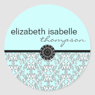 Turquoise Baroque Name Sticker