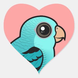 Turquoise Barred Parakeet Heart Sticker