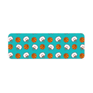 Turquoise basketballs and nets pattern return address labels