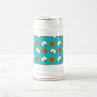 Turquoise basketballs and nets pattern 18 oz beer stein