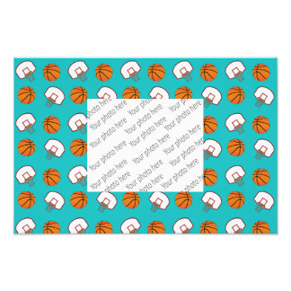 Turquoise basketballs and nets pattern photo print
