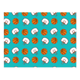 Turquoise basketballs and nets pattern postcard