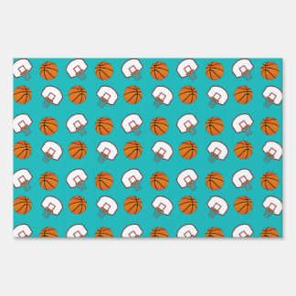 Turquoise basketballs and nets pattern yard signs