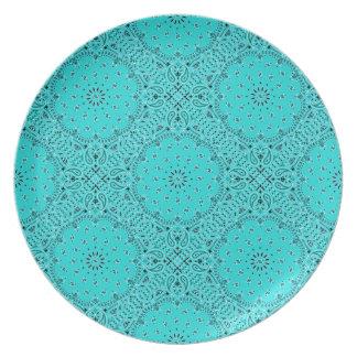 Turquoise BBQ Paisley Western Bandana Scarf Fabric Melamine Plate